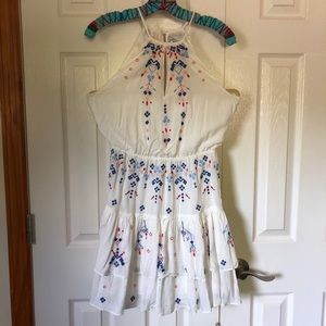 Parker Embroidered Tiered-Mini dress